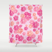 Blossoms Candy Pink Shower Curtain by Lisa Argyropoulos