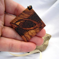 Jesus Fish Olive Wood Necklace Pendant - Christian Fish