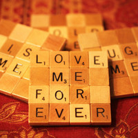 Scrabble Coasters with Recycled Wood Scrabble Tiles And Sturdy Game Board Backing Set Of Four  TRUE LOVE
