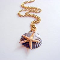 Scallop Shell and Starfish Charm Necklace - Small - Lavender and Pale Pink - Hand Painted Patina - Brass - Ocean Beach Sea