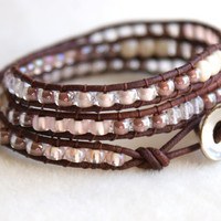 Beige Boho beaded leather wrap bracelet, 3x Wrap bracelet, Chan Luu Style, pink, rose, beige, silver, chocolate