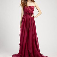 Notte by Marchesa - Silk Chiffon Strapless Empire Waist Gown - Saks.com