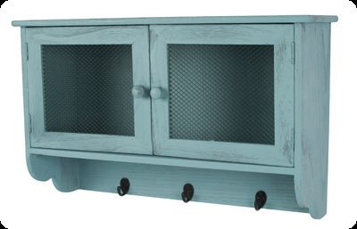 Dibor | W251 Distressed blue chicken wire shelf cabinet with hooks  £92.00