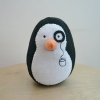 Plush penguin stuffed animal fleece plushie - Reginald P. Flapsworthy