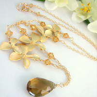 Hawaiian gold orchid whiskey quartz necklace
