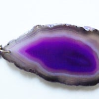Purple Agate Geode Necklace with Brass  Chain