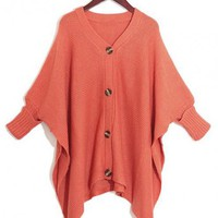Red Irregular Button Loose Cardigan $41.00