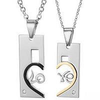 Matching Love Heart Couple Necklace