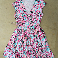 Peony Confetti Wrap Dress [3129] - $42.00 : Vintage Inspired Clothing & Affordable Summer Dresses, deloom | Modern. Vintage. Crafted.