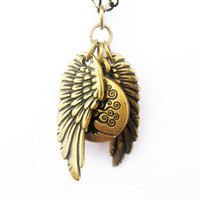Celtic Tree of Life and Angel Wing Necklace - Antique Brass Charms on 18-inch Antique Brass Chain