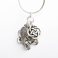 Celtic Trio Necklace - Celtic Infinity Knot Charm, Angel Wing Charm, and Celtic Quarternary Knot Charm - on Sterling Silver Chain