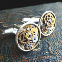 Clockwork Cufflinks Model Three Soldered by amechanicalmind