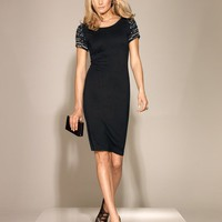 Beaded-Sleeve T-Shirt Dress at Newport-News.com