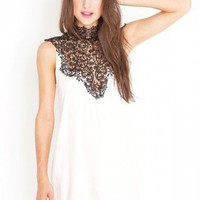 Tied Crochet Dress - Ivory - NASTY GAL