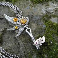 Wings of Icarus - Silver key steampunk pendant