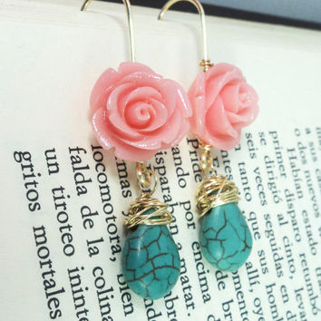 Floral Long dangle earrings rose pink and turquoise blue/wire wrapped earrings