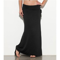 G by GUESS Valerie Knit Maxi Skirt, BLACK (XL)
