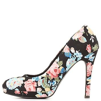 Qupid Floral Print Mini Platform Pumps - Black Multi