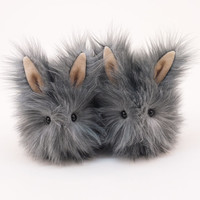Reserved for Anneka Two Cute Plush Toy Bunnies Kawaii Plushie Sterling the Silver Cuddly Snuggly Faux Fur Rabbit Toy Small 4x5 Inches