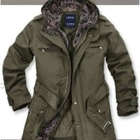 Winter Style Button Decorated Male Casual Blends Coat Army Green M/L/XL @S0-6280-1ag $81.99 only in eFexcity.com.