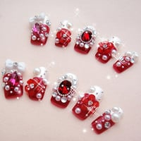 Queen of Hearts Japanese Kawaii Heart Himegyaru Bow Deco Bling Nails Art Set for Princess.the red art.