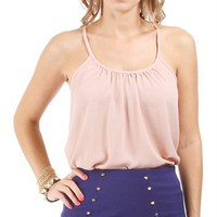 Tan Racer Back Spaghetti Strap Top