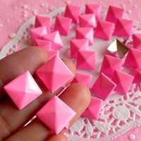 Rivet / PINK Metal Pyramid Rivet Studs / Square Rivet 12mm (around 50pcs) for Cell Phone Deco / Leather Craft / Jean Button, etc