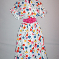 Vintage 1980s Classic White Multi-Color Floral Print Dress/ Plus Size