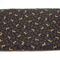 Thimbleberries Mistletoe Mountain Fabric 1 yard holiday Christmas reindeer fabric black brown gold tan destash