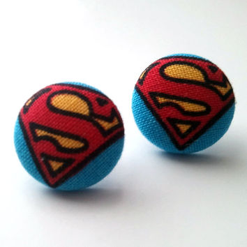 Superman Button Earrings on Luulla