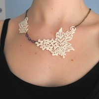 White Lace Necklace by adrienneaudrey on Etsy