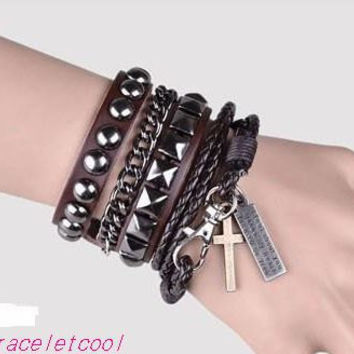 Punk Rock Style Chocolate Leather Bracelet Couple Bracelet Women Leather Bracelet Men Leather Bracelet 1251A