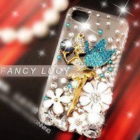 Flower iphone case Bling iPhone 4 case Crystal iphone 4s case cover Clear iphone 4 case studded fairy angel white flowers
