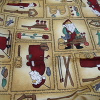 Christmas Holiday Santa Fabric Pinnacle destash remnant gold maroon green tan white