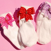 Rhinestone N Ribbon Bow Socks Girls.. on Luulla