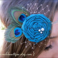 l o v e  c r u s h Turquoise Dupioni Silk Rosette Russian Veil Peacock Feathers Skinny Headband OR Hair Clip Fascinator Gorgeous Photo Prop