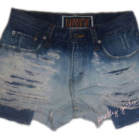 Vintage Ombre Cut Off Denim Shorts (Small)