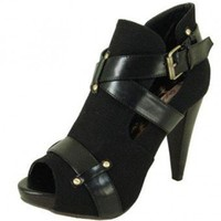 Black PEEP TOE BOOTIE @ KiwiLook fashion