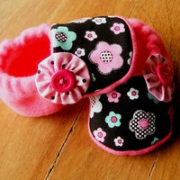 Dotty Pink, Blue, Black Flowers Fle.. on Luulla