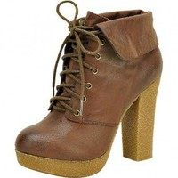 LIGHT-BROWN LACE UP BOOTIE WITH COLLAR @ KiwiLook fashion