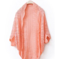 Fall Autumn New Style Pink Wraps Bat-Wing Sleeve Knitting Cute Loose Sweater One Size@WXM874p $7.99 only in eFexcity.com.