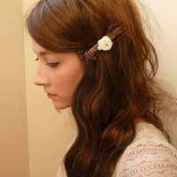 chocolate brown and ivory flower natural woodland barrette - WREN