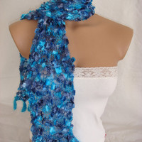 Hand knitted&amp;crocheted blue elegant scarf