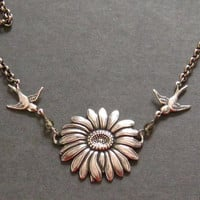 Antiqued Silver Sunflower and Humming Bird by martywhitedesigns