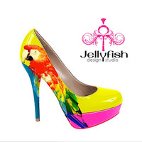 Parrot shoes by Studiojellyfish on Etsy