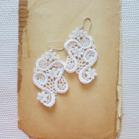 Romantic Ivory Lace Earrings with Rhinestone under 25