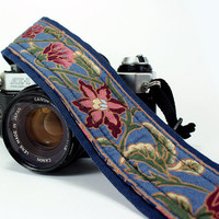 Camera Strap, Blue Floral, Rose, Navy, Olive Green, dSLR, SLR, Padded