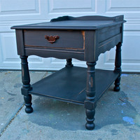 Cool Lava Grey vintage Night stand /Side Table