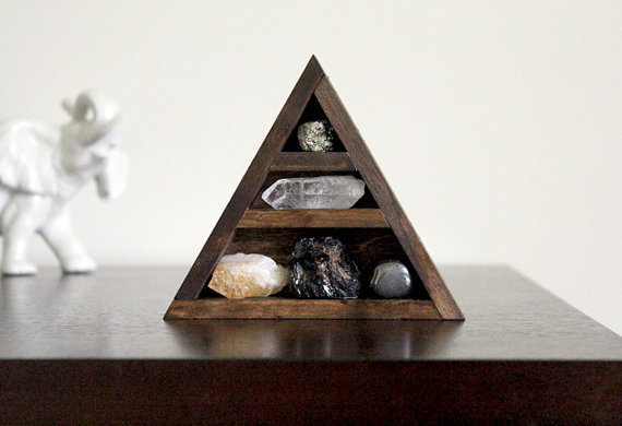 RESERVED - Stone Set and Triangle Wood Curio Shelf - Crystal Mineral Set Number 13