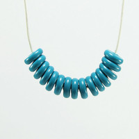 Geometric Necklace - Turquoise Blue Beaded Simplicity Fun Funky Bright Everyday Minimalist Necklace - Necklace for Women - Gifts for Her